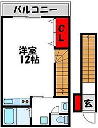 JR鹿児島本線 東郷駅 徒歩3分の賃貸アパート 2階ワンルームの間取り