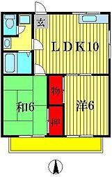 デリエール横須賀B棟[2階]の間取り