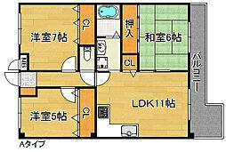 ロジュマン泉佐野[4階]の間取り