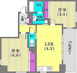 メイプル兵庫ラフィール[4階]の間取り