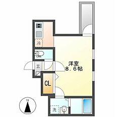 名古屋市営名城線 志賀本通駅 徒歩2分の賃貸アパート 3階ワンルームの間取り