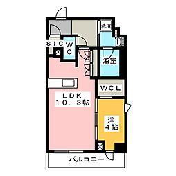 プラウドフラット菊川 6階1LDKの間取り