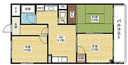 阪急京都本線 上新庄駅 徒歩19分の賃貸マンション 5階3DKの間取り
