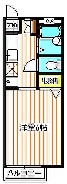 間取り(1Kタイプの居室。6帖の洋室です。)