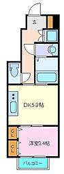 仙台市営南北線 長町一丁目駅 徒歩9分の賃貸アパート 1階1DKの間取り