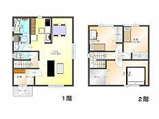 (参考プラン)間取図の一例です。参考プランを建築した場合の建物延床面積86.94平米、建物本体価格は付帯工事費も含め1580万円です。太陽光の設置・屋上庭園の費用は別途実費要。