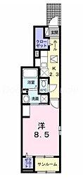 JR山陽本線 岡山駅 バス18分 豊成下車 徒歩3分の賃貸アパート 1階1Kの間取り
