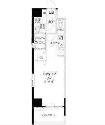 西鉄貝塚線 西鉄香椎駅 徒歩4分の賃貸マンション 8階ワンルームの間取り