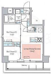 都営新宿線 菊川駅 徒歩4分の賃貸マンション 3階2LDKの間取り
