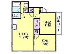 サンハイツD 2階2LDKの間取り