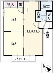シャトーファンシーB棟[1階]の間取り
