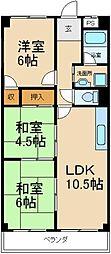 大阪府枚方市走谷2丁目の賃貸マンションの間取り