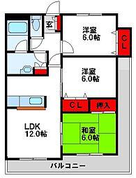 JR鹿児島本線 東郷駅 徒歩30分の賃貸マンション 6階3LDKの間取り