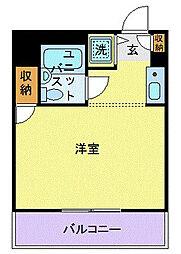 ユーコート武蔵小杉 2階ワンルームの間取り
