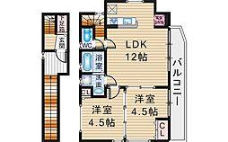 LISソフィア旭丘 3階2LDKの間取り