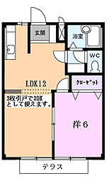 ドリームハウス渡B[102号室]の間取り