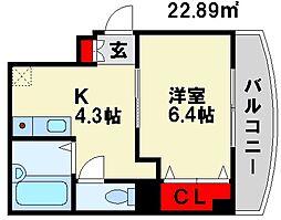 エスティ21 5階1Kの間取り