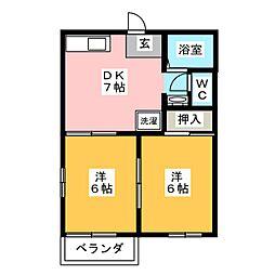 タウニーSAKA B[1階]の間取り