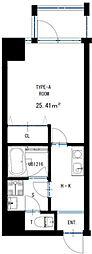JR東西線 海老江駅 徒歩5分の賃貸マンション 7階1Kの間取り
