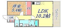 フラワーメゾン東園田 2階1LDKの間取り
