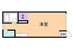 コーポ東園5 1階ワンルームの間取り