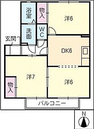 ガーデンビレッジ B[2階]の間取り