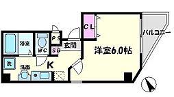駅前敷島第二ビル 7階1Kの間取り