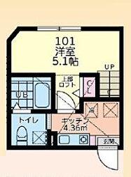 小田急小田原線 相模大野駅 バス19分 麻溝車庫下車 徒歩7分の賃貸アパート 1階1Kの間取り