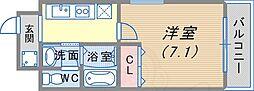 阪急神戸本線 春日野道駅 徒歩4分の賃貸マンション 5階1Kの間取り