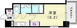 JR山陽本線 兵庫駅 徒歩4分の賃貸マンション 4階1Kの間取り