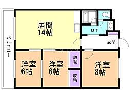 マンション松島 4階3LDKの間取り