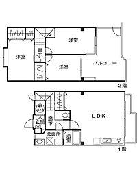 [タウンハウス] 神奈川県横浜市港北区箕輪町3丁目 の賃貸【/】の間取り