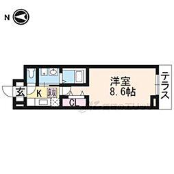 京都地下鉄東西線 醍醐駅 徒歩18分の賃貸アパート 1階1Kの間取り