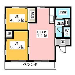 静岡県静岡市駿河区用宗2丁目の賃貸アパートの間取り