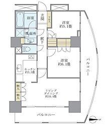ザパークタワー東京サウス 3階2LDKの間取り