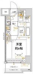 ベルシード横濱吉野町マキシヴ 9階1Kの間取り
