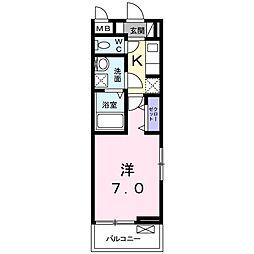 JR高徳線 栗林公園北口駅 徒歩10分の賃貸アパート 3階1Kの間取り