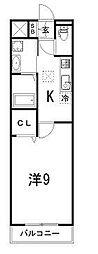 YEBISU 2階1Kの間取り