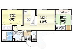 大阪モノレール彩都線 彩都西駅 徒歩9分の賃貸アパート 1階2LDKの間取り