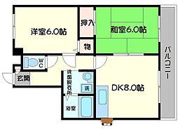 京阪本線 西三荘駅 徒歩11分の賃貸マンション 4階2DKの間取り