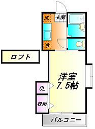 神奈川県小田原市鴨宮の賃貸アパートの間取り