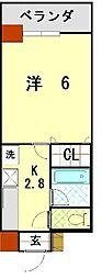 bloom長田 2階1Kの間取り