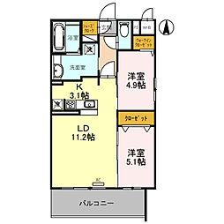 近鉄長野線 喜志駅 徒歩1分の賃貸アパート 1階2LDKの間取り