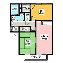 サンライフこの A棟[1階]の間取り