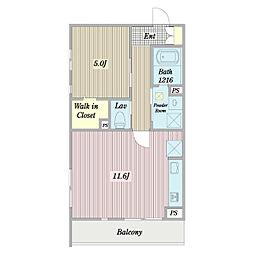 (仮称)府中町3丁目計画新築工事 2階1LDKの間取り