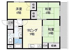 JR東海道・山陽本線 吹田駅 徒歩8分の賃貸マンション 3階3LDKの間取り