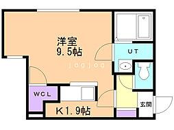 アミティエ 3階1Kの間取り