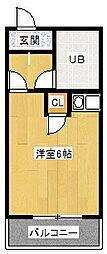 南海高野線 白鷺駅 徒歩1分の賃貸マンション 3階1Kの間取り