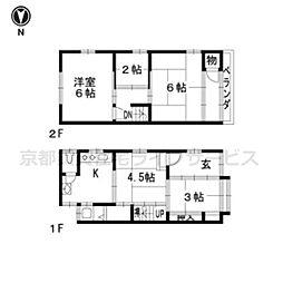 [一戸建] 京都府京都市下京区大宮3丁目 の賃貸【/】の間取り