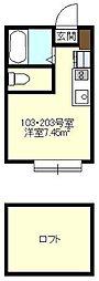 Axia Court Kishiya[203号室号室]の間取り